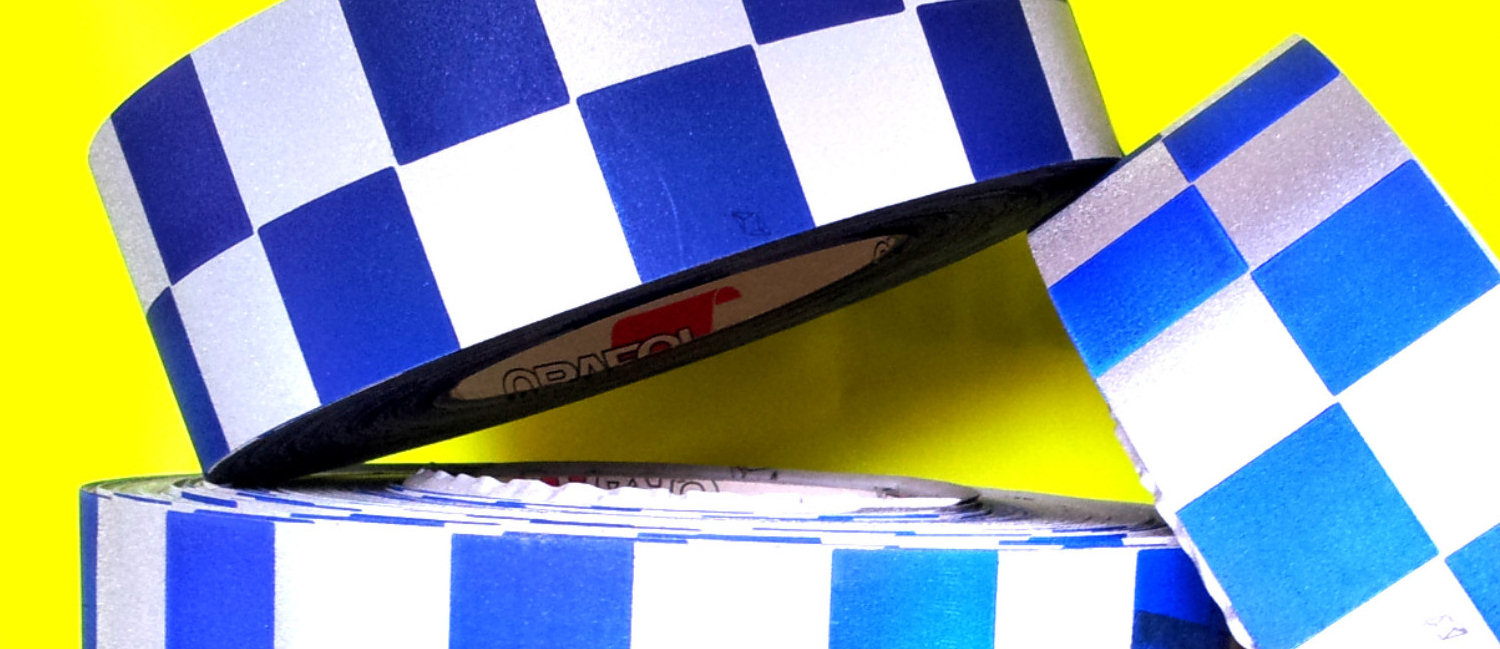 Police style reflective tape chequered safety blue and silver checkered fabric material